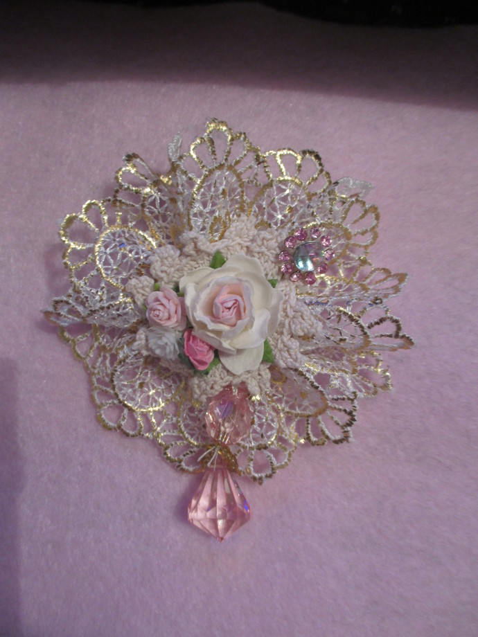 Large Vintage Style Handmade Lace Ribbon Flower with Stickpin