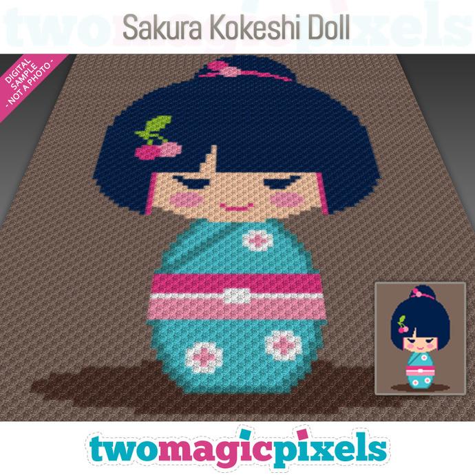 Sakura Kokeshi Doll crochet graph (C2C, Mini C2C, SC, HDC, DC, TSS), cross