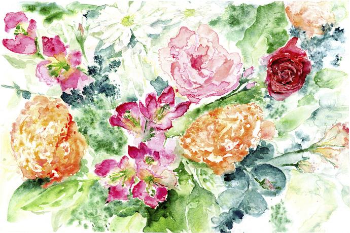 Bouguet 2018, Original Watercolor Painting, 39.8cm x 27cm