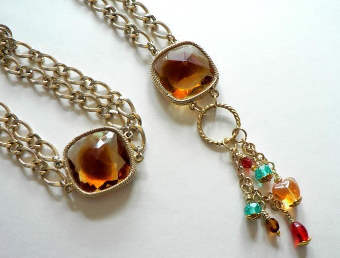 Repurposed Vintage Amber Necklace and Bracelet Set