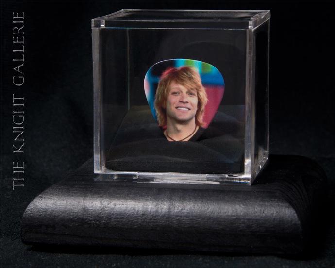 Commemorative guitar pick and display case: Bon Jovi