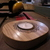Handmade round upcycled wood burned tea light candle holder