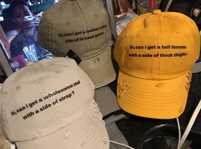 """Distressed """" Hi Can I Get A """" Baseball Cap"""