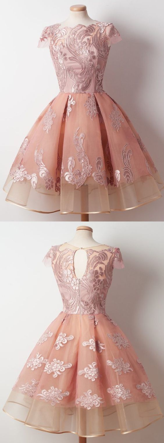 A-Line Bateau Knee-Length Cap Sleeves Pink Organza Homecoming Dress with