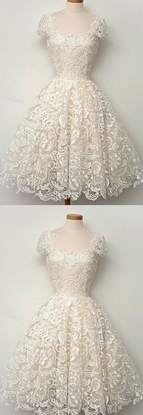 Prom Dresses Lace, Lace Homecoming Dresses, Ivory Lace dresses, Short Party
