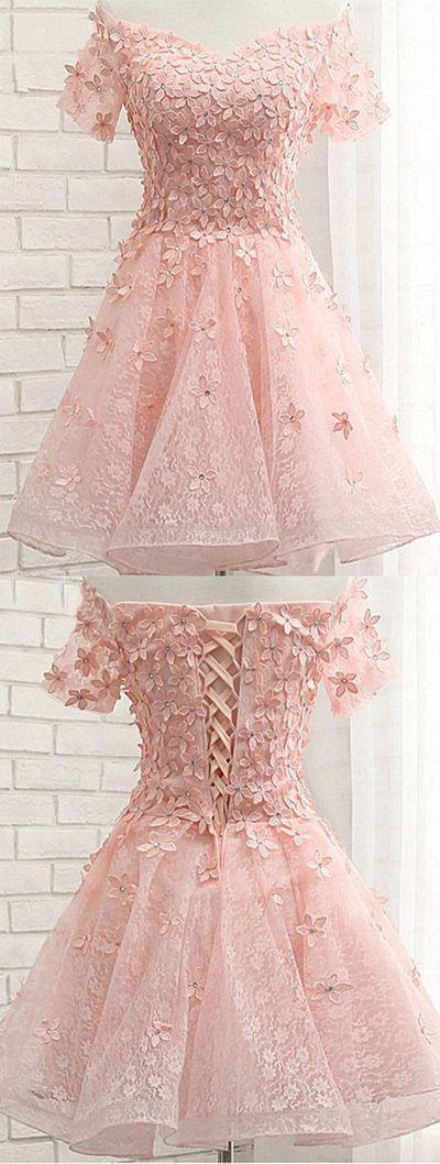 Pink Off Shoulder Short Sleeves Lace Beading Appliques Short Prom Dress