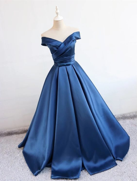 Off the shoulder prom dress, v neck evening gowns,ball gowns evening dresses