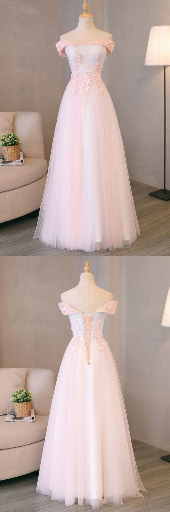 Pink And Light Blue Sweetheart Tulle Prom Dress, Charming Formal Gown, Party