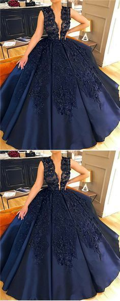 Ball Gown Jewel Court Train Sleeveless Navy Blue Satin Prom Dress with Appliques