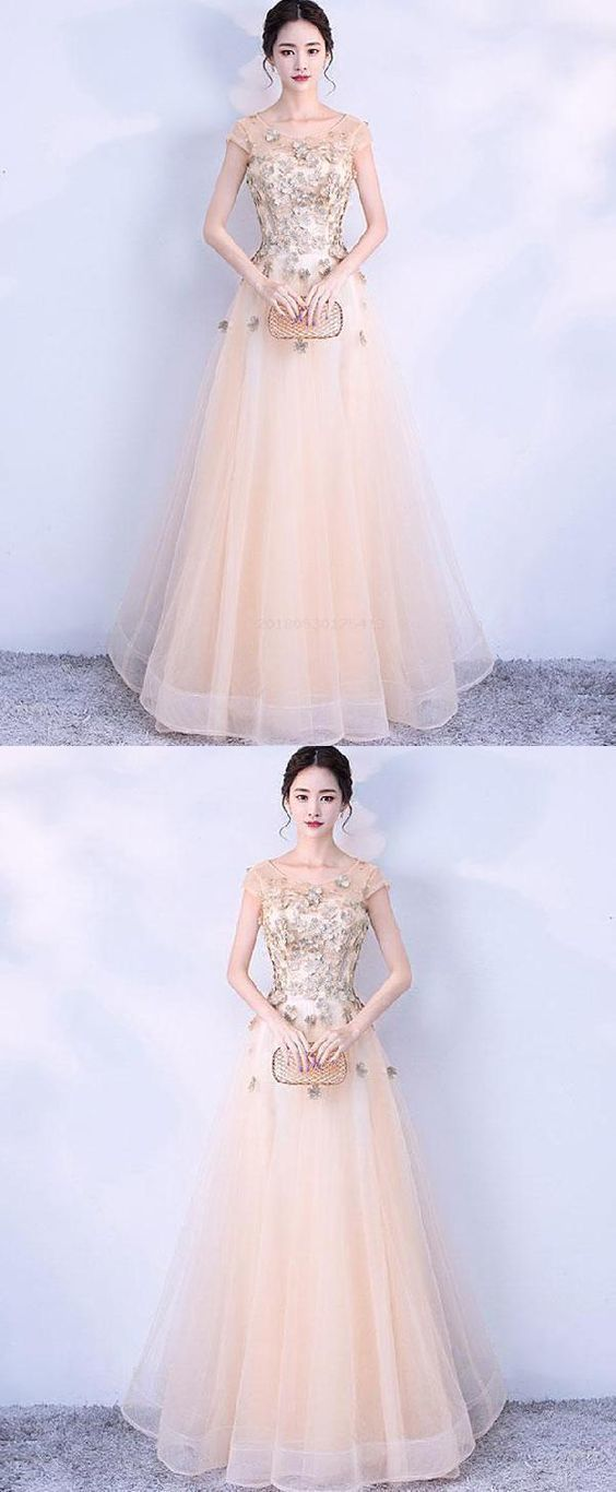 Lace Evening Dresses, Prom Dresses , Prom Dresses Long, Champagne Evening