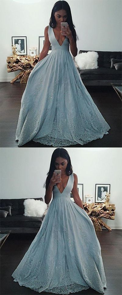 Blue A-Line Lace Prom Dress, V-Neck Prom Dress, Charming Party Prom Dress, Beads