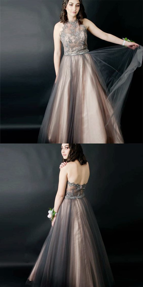 A-Line Halter Backless Grey Beaded Long Prom Dress with Appliques
