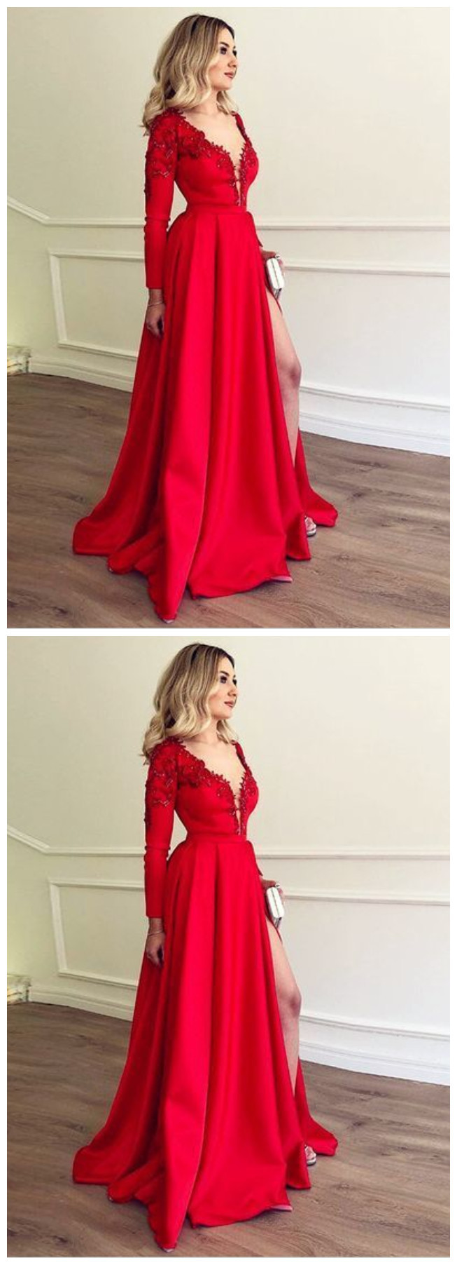 A-Line V-Neck Long Sleeves Red Prom Dress with Appliques Beading