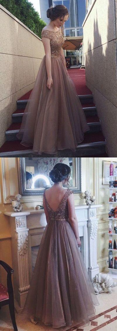 Elegant bateau tulle prom dress with beading, fashion open back tulle party