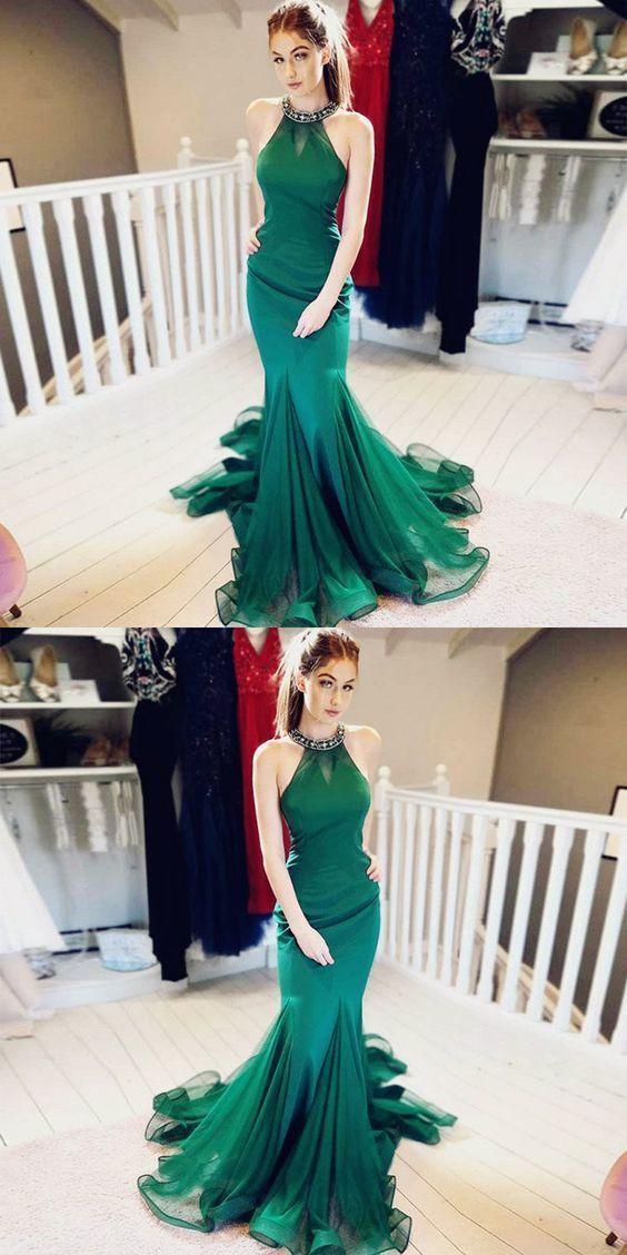 Mermaid Jewel Beaded Green Long Prom Dress