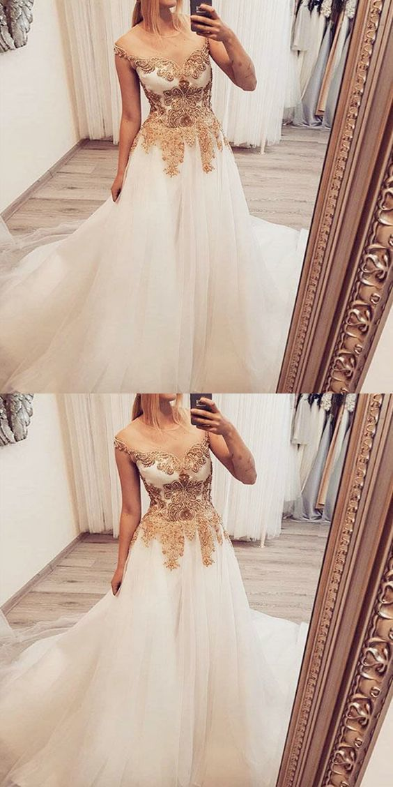 A-Line Illusion Round Neck White Long Prom Dress with Lace