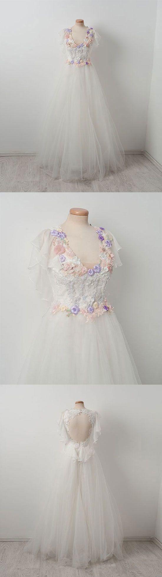 Elegant tulle lace applique white long prom dress, white evening dress