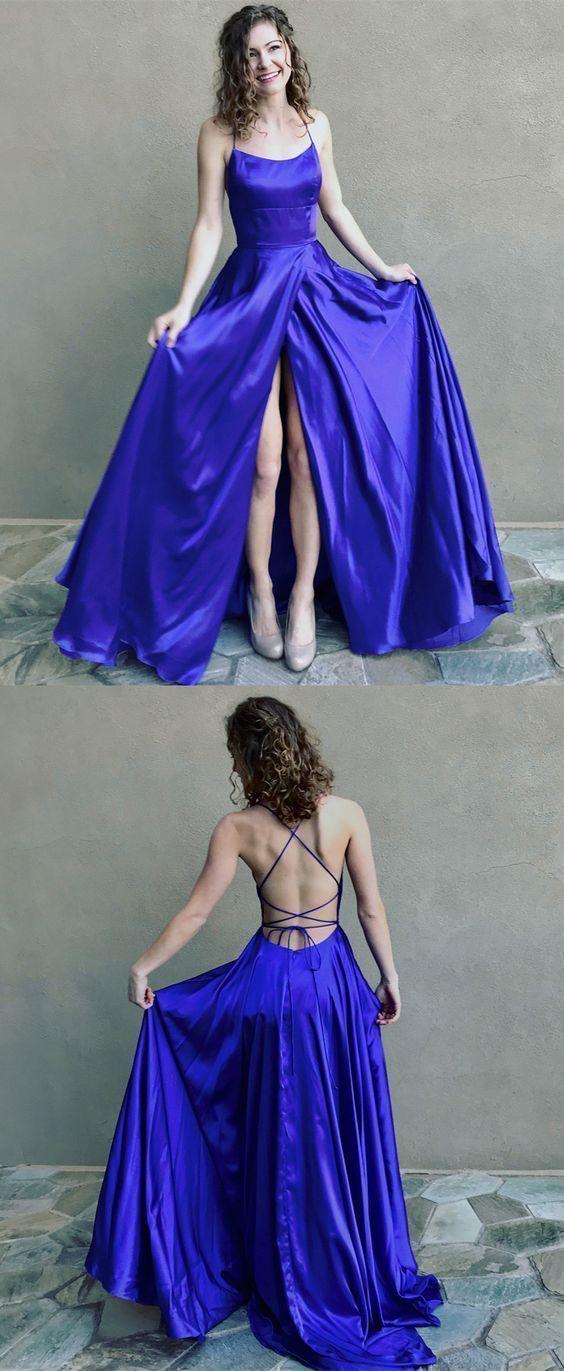 Royal blue long prom dress with side slit, simply prom dress, halter graduation