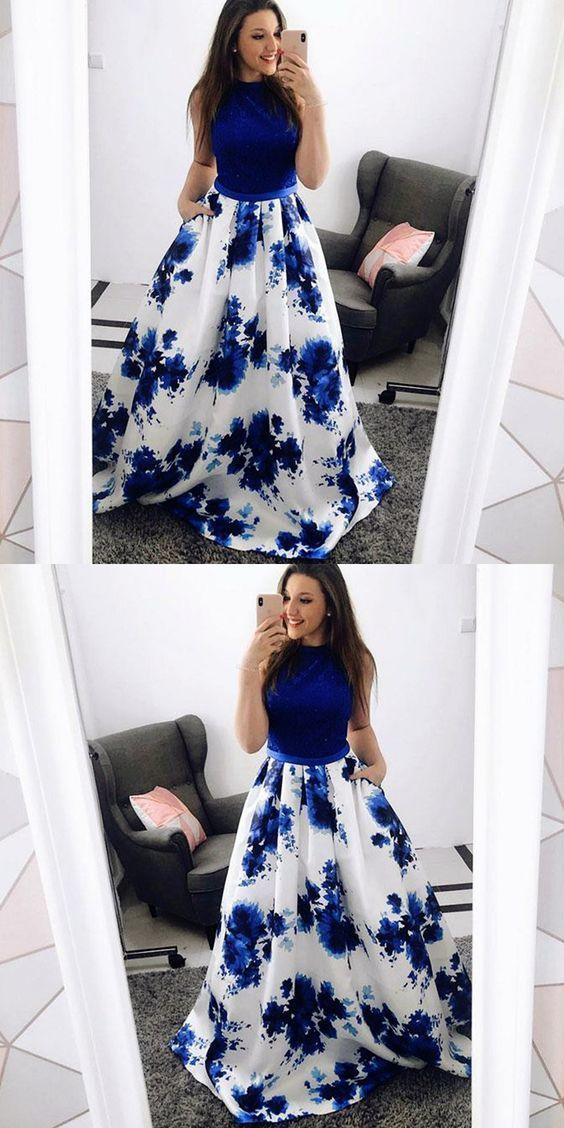 A-Line Jewel Blue Floral Long Prom Dress with Pockets Lace