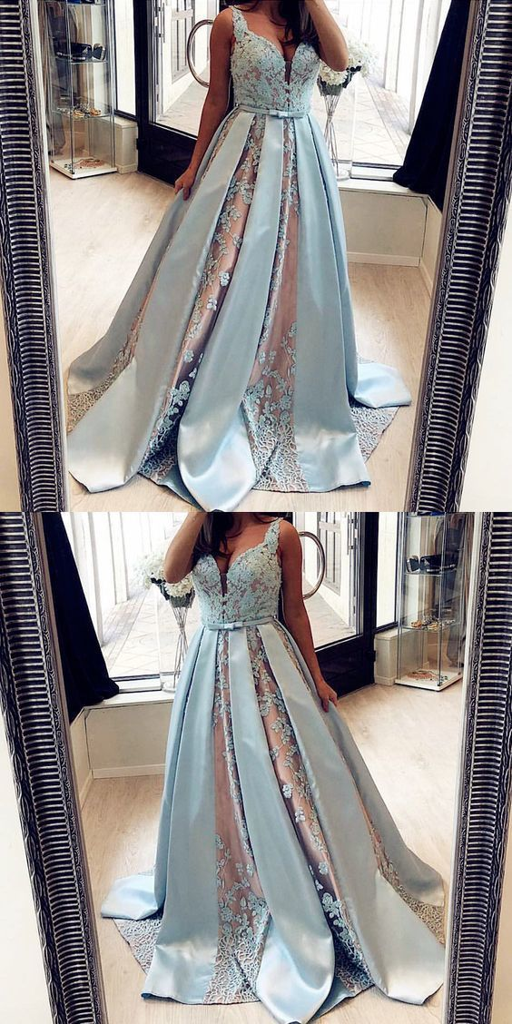 A-Line V-Neck Blue Long Prom Dress with Beading Lace