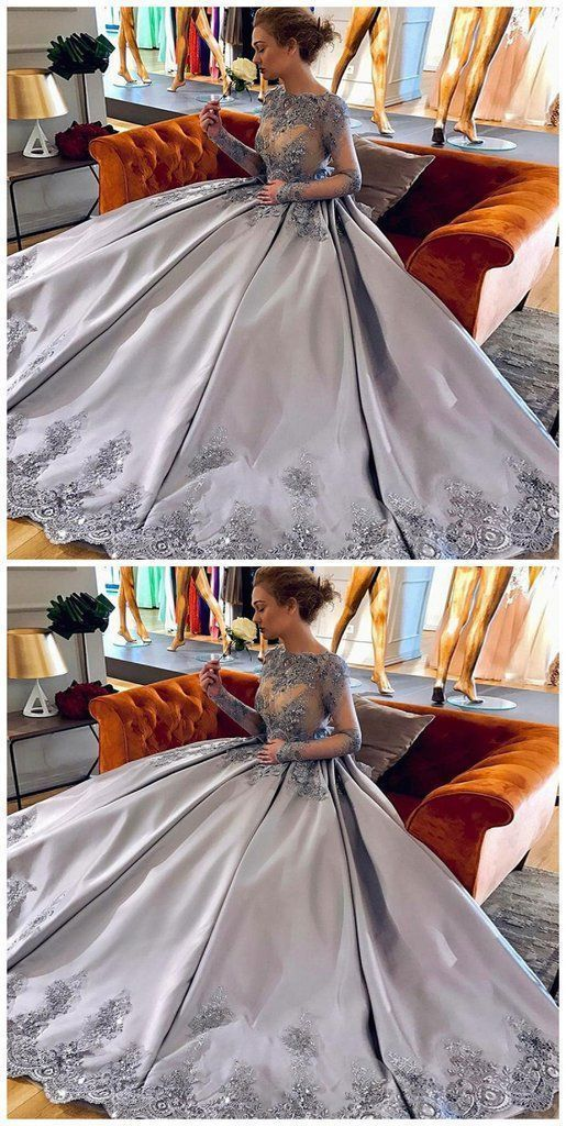 Elegant A-Line Bateau Long Sleeves Grey Satin Prom Dress with Appliques