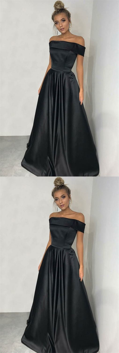 A-Line Off-the-Shoulder Sweep Train Black Satin Sleeveless Prom Dress with