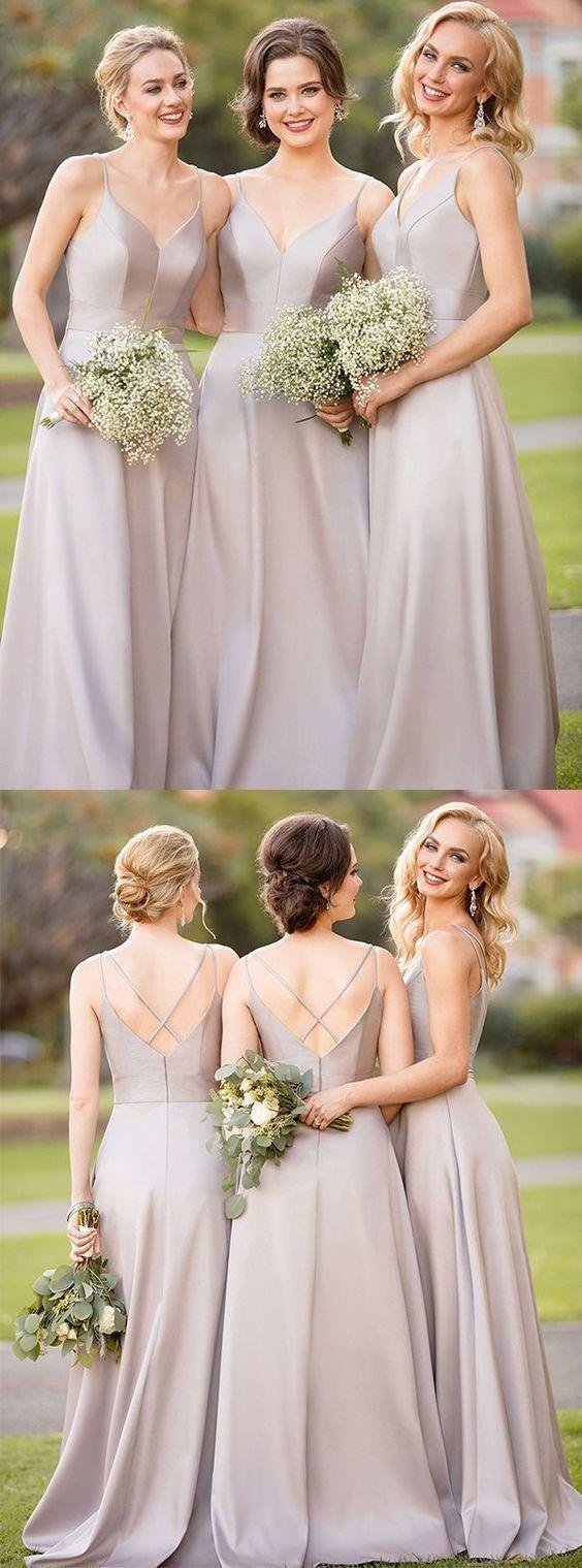 A-line Spaghetti Strap Floor-Length Bridesmaid Dress K2450
