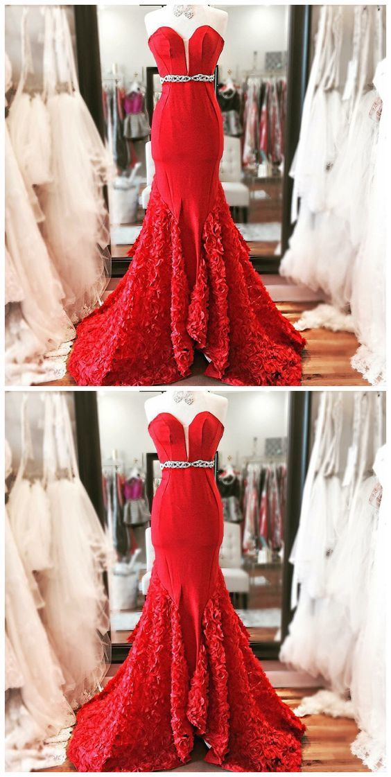 Mermaid Sweetheart Sweep Train Red Beaded Prom Dress