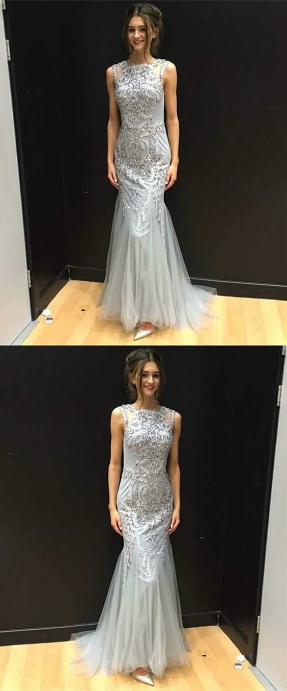 Mermaid Round Neck Sweep Train Silver Prom Dress with Appliques Beading