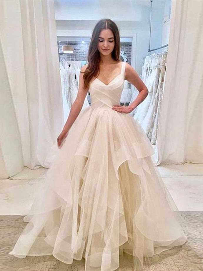 Custom Made Sweetheart Neck Light Champagne Wedding Dresses, Organza Prom