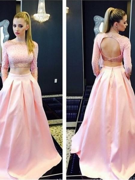 Charming A-line Two Piece Open Back Long Sleeves Beaded Bodice Pink Evening Prom
