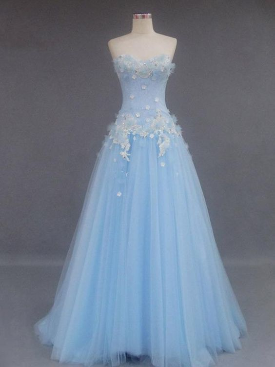 Beautiful Prom Dress Sweetheart Light Sky Blue Long Prom Dress/Evening Dress