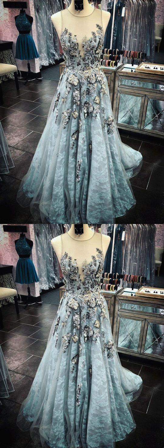 Tulle lace long prom dress Elegant Long Prom Dress