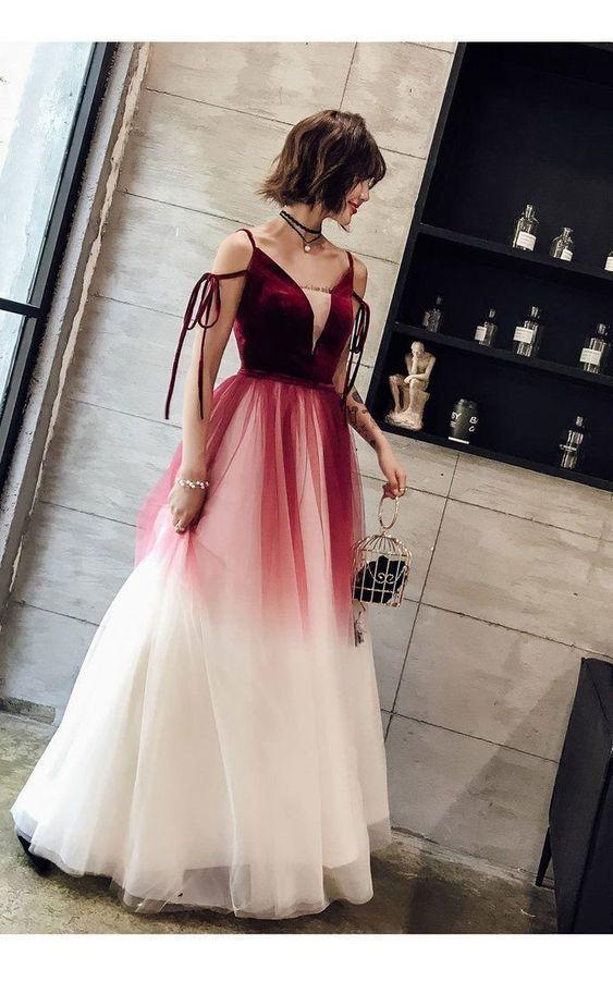 Prom Dresses A Line Spaghetti Straps Long Prom Dress Simple Evening