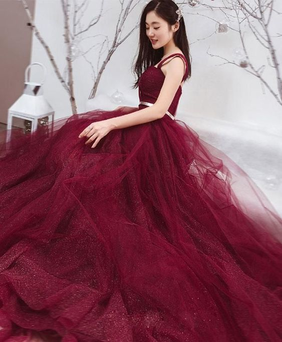 Long Prom Dresses Straps Aline Sexy Sweep Train Burgundy Lace Prom