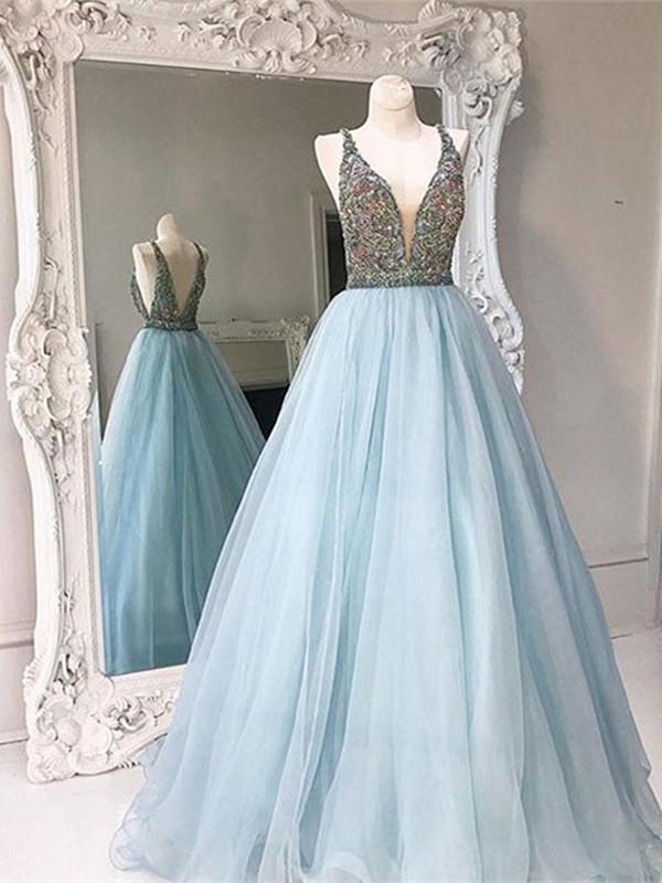 Light Blue V Neck Open Back Prom Dresses, V Neck Backless Formal Dresses H1566