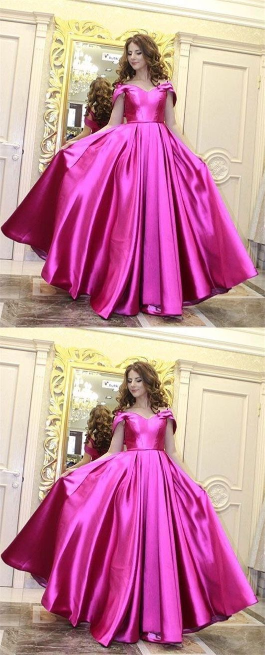 Gorgeous Ball Gown Sweetheart Fuchsia Satin Long Prom Dresses with Pockets,