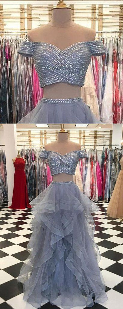 Gray tulle two pieces sweetheart neck silver sequins long prom dress, long