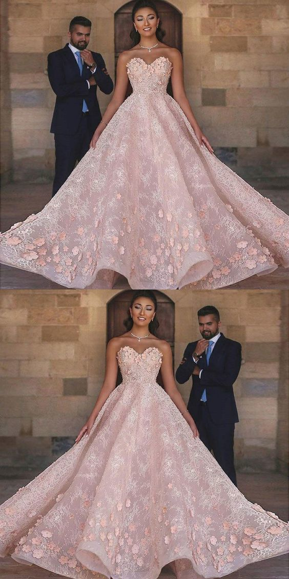 A-Line Sweetheart Floor-Length Pink Beaded Lace Prom Dress with Appliques
