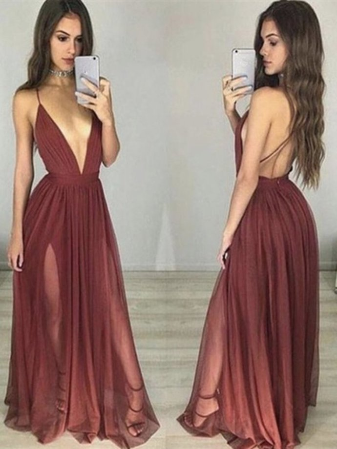 Sexy Maroon/Burgundy V Neck Backless Prom Dresses, Bridesmaid Dresses H5950