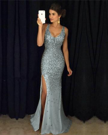 Sexy Leg Split Crystal Beaded Mermaid Prom Dresses V-neck Evening Gowns