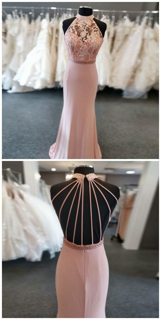 Mermaid Round Neck Sweep Train Pink Beaded Prom