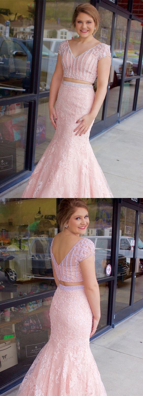 Two Piece Pink Lace Mermaid Long Prom Dress with Cap Sleeves