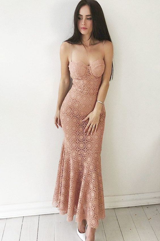 Pink Mermaid Sweetheart Spaghetti Strap Lace Appliques Prom Dress Ankle Length