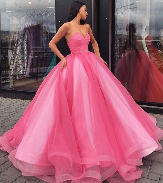 Sweetheart neck hot pink tulle long strapless senior prom dress, long evening