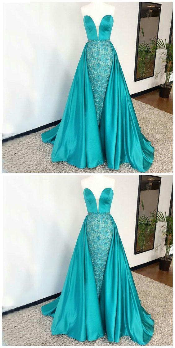 Sweetheart Sheath Floor-Length Beaded Turquoise Prom Dress