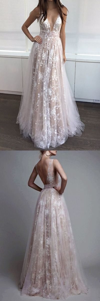 Copy of A Line V NSexy Party Dress ,Champagne A-Line V-Neck Appliques Long Prom