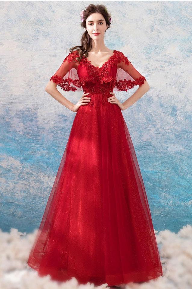 Burgundy v neck tulle lace long prom dress, burgundy tulle formal dress