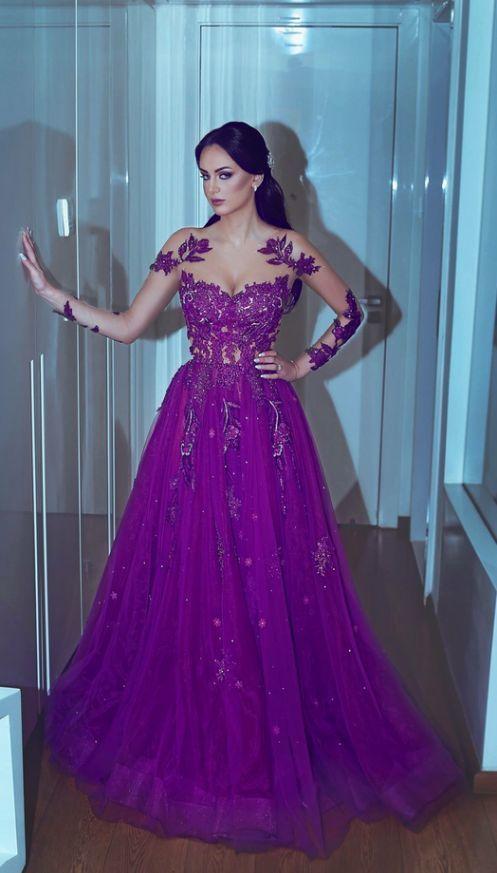 Purple Prom Dresses, Sheer Crew Prom Dresses, Long Sleeve Prom Dresses, Lace