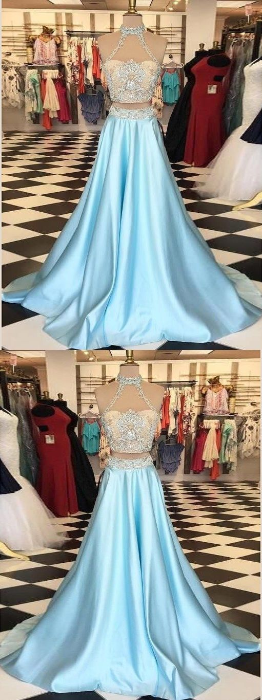 Two Piece Prom Dresses A line High Neck Beautiful Prom Dress Sexy Evening Dress